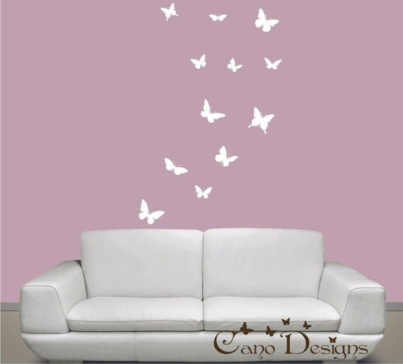 Butterflies Set of 12, 1 color, vinyl wall decals, living room, nursery, kids & teens room, removable decals stickers