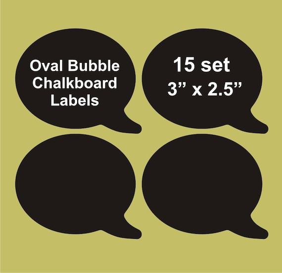 "Speech Bubble chalkboard labels 15 set, 3"" x 2.5"",  blackboard labels, personalized labels"