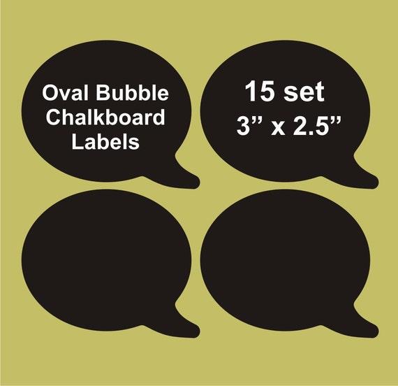"""Speech Bubble chalkboard labels 15 set, 3"""" x 2.5"""",  blackboard labels, personalized labels"""