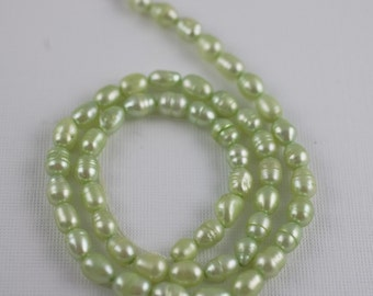 4-6mm Celery Green Freshwater Pearls - Rice Oval -15 Inch Strand - 53 Beads