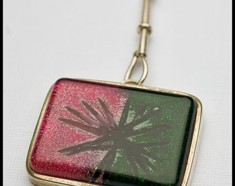 30x38mm Sterling silver and Dichroic Fused Glass Bezel Set Focal Pendant