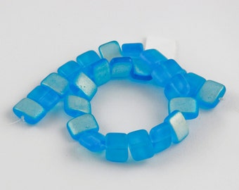 8x10mm Vibrant Aqua Blue AB Czech Glass Puff Rectangle Beads - 8 inch strand - 25 pieces