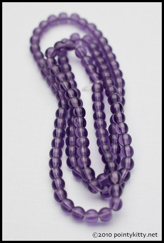4mm Amethyst Purple Czech Glass Round Druk Spacer Beads - 16 inch strand - 100 pieces
