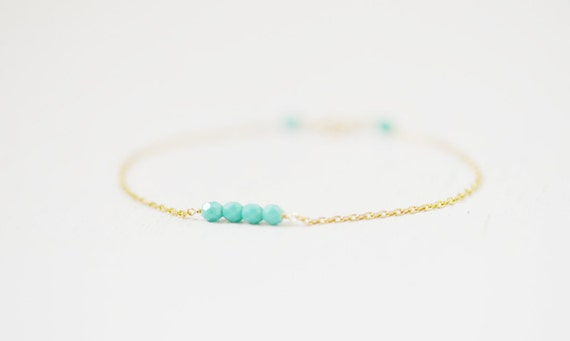 Turquoise Beads on Gold Filled Chain Bracelet - gift ideas, best friend gift, birthday gift, for her, gift under 20