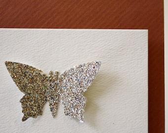 Delicate glittery butterfly card set