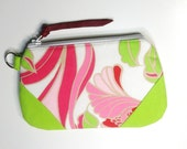 Floral Zipper Pouch Pink Lime Green White Medium