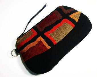 Color Block Zippered Pouch Purse in Olive
