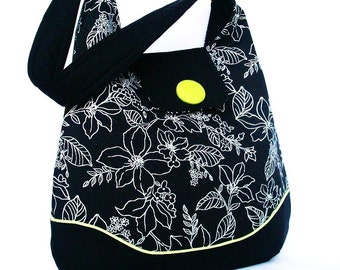 Hobo Black White Floral, Shoulder Bag Lime Green Accent Button and Piping
