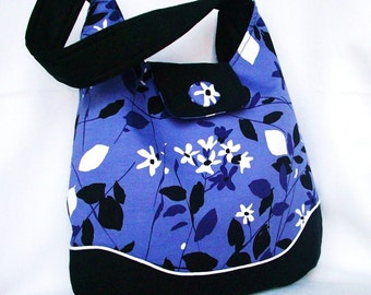 Purple Hobo Bag, Purple Floral Hobo Bag, Shoulder Bag in Purple Falling Leaves with Accent Button