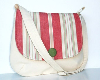 Messenger Style Bag in Natural Cotton Canvas, Pink Stripe Crossbody Bag