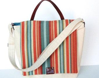 Messenger Bag in Natural Canvas, Leather Trim
