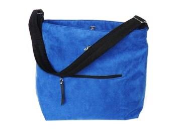 Ultra Suede Crossbody, Messenger Style, Shoulder Bag, Royal Blue, Diaper Bag