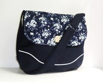 Navy Floral Crossbody Bag, Flap Closure Bag, Adjustable Strap