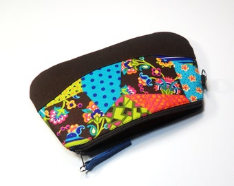 Zipper Purse Patchwork Print Cotton - Leather Pull