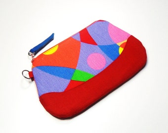 Zippered Purse - Zippered Pouch - Modern Print - Leather Pull