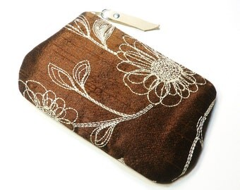 Brown White Floral Embroidery Purse / Wedding / Formal