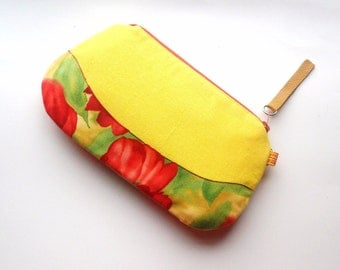 Yellow Linen Zipper Pouch. Yellow Purse. Red Floral. Gadget Holder-Pouch Style