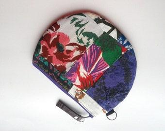 Patchwork  Zipper Pouch. Patchwork Zipper Purse. Patchwork Oval Purse-Pouch Style