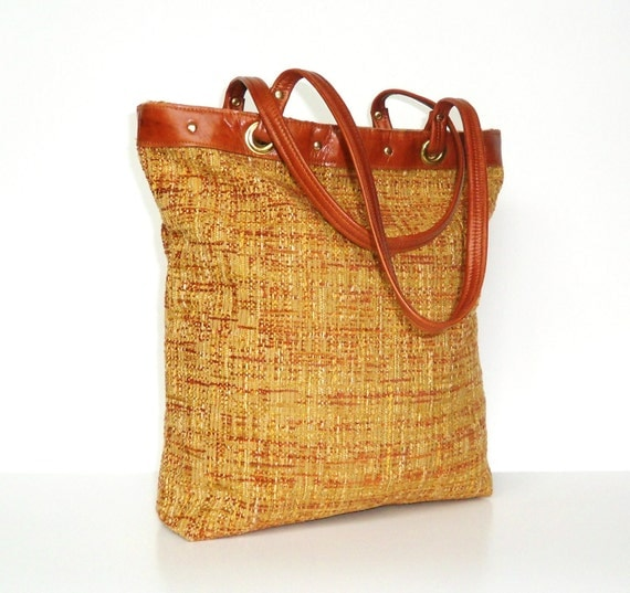 Autumn Weave Tote - Leather Trim - Pouch Style - OOAK - Ready to Ship