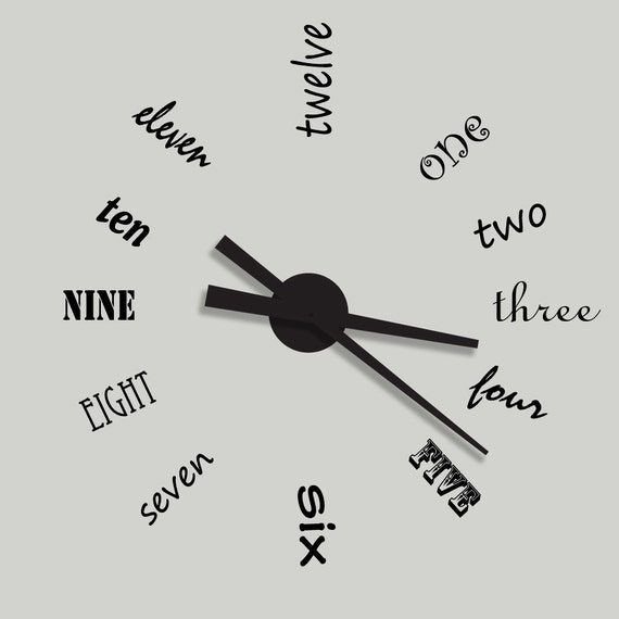 Large Wall Clock Vinyl Wall Decal Complete with Working Clock  -  HGTV Inspired Design Your choice of Colors - by Katazoom Wall Decals