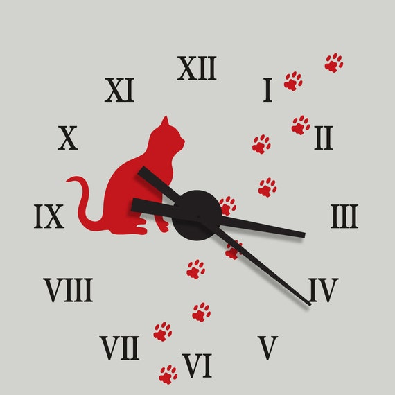"""Large Wall Clock Kit With Vinyl Decal Cat and Paw Print Design 22"""" Diameter by Katazoom Vinyl Wall Decals"""