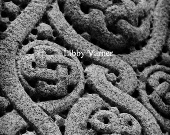 Celtic Knotwork Cemetery Marker Black and White Photograph - Free Shipping -