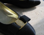 Stunning Vintage Black Satin Ferragamo with Rhinestone bow
