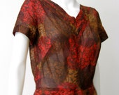 Stunning Vintage 1950's Brown and Red Paisley Dress
