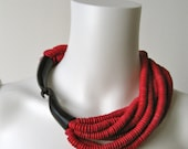Stunning Vintage Red Coconut Shell and Horn Gerda Lyndggaard Necklace