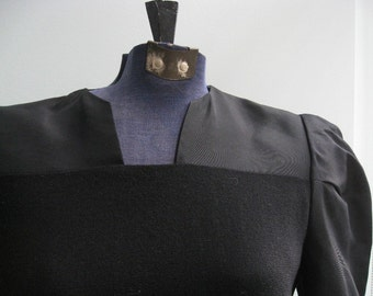 Vintage Pauline Trigere Black Wool Avant Garde Dress