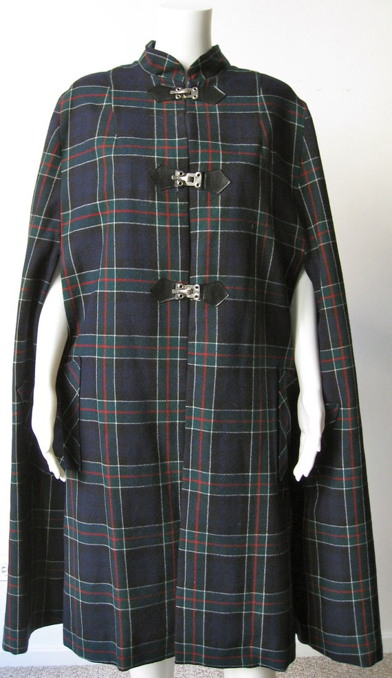 1950s Navy Plaid Amana Wool Cape