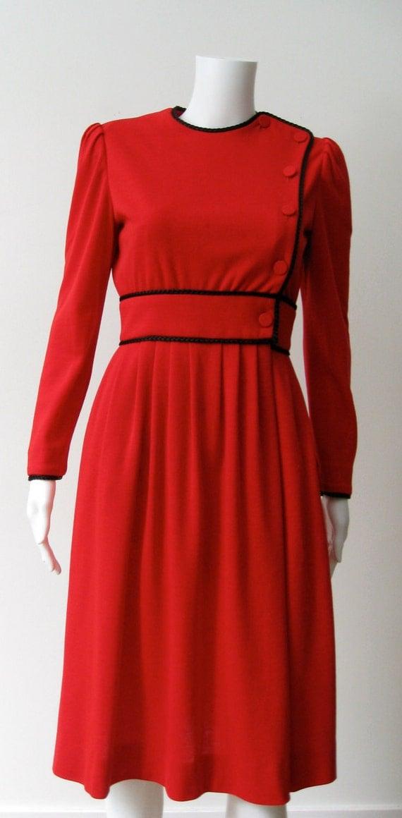 Chic Vintage 1970s Red Albert Capraro Wool Dress
