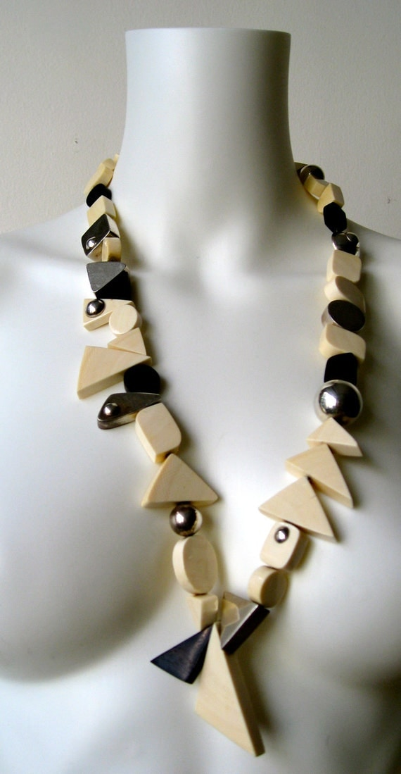 Reserved Stunning Vintage Bone and Silver Avant Garde Necklace