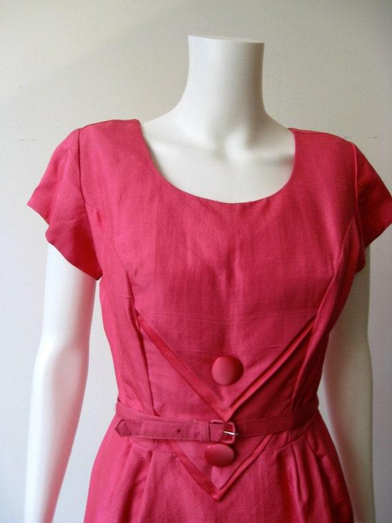 Bold Pink Vintage Silk 1960's Dress