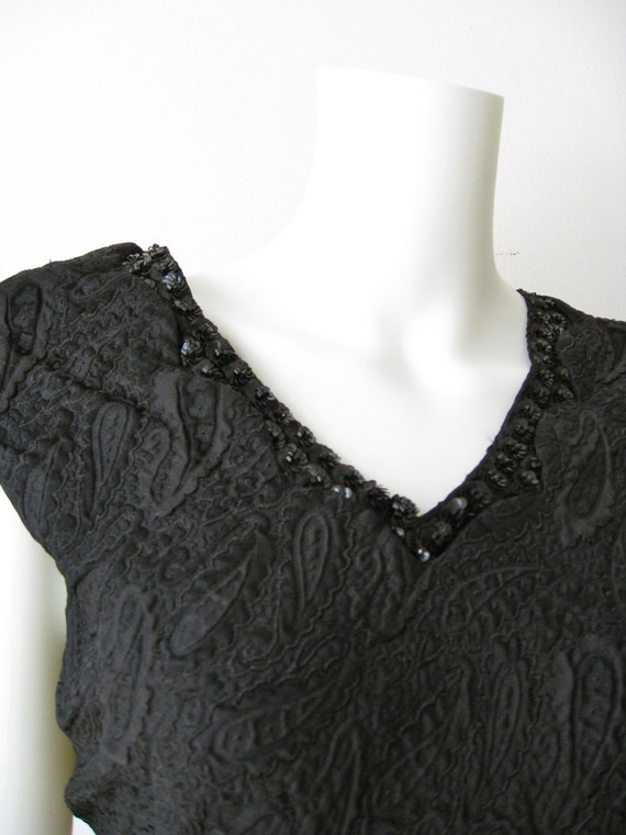 Gorgeous  1960s Black Paisley Beaded Saks Fifth Avenue Dress