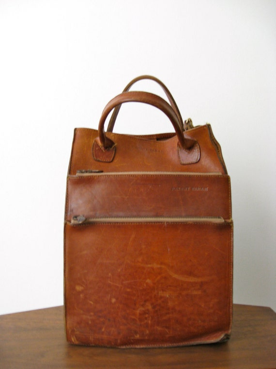 Gorgeous 1980s Brown leather Johnny Farah Tote Bag