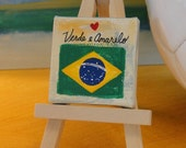 Made to order: Mini Love for Brazil football sport canvas and easle