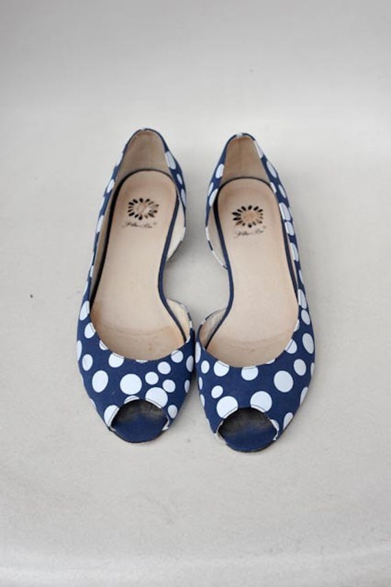 Peep Toe Navy Blue And White Polka Dot Women S Shoes Size