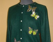 Cardigan Sweater..upcycled, appliqued and beaded: Butterflies, forest green