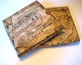 Classical Music Coasters, tumbled marble tiles, vintage sheet music, set of two, 4 x 4 inches