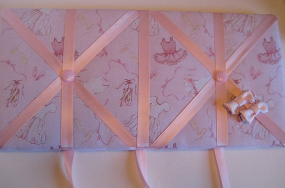 Ballet Hair Clip Organizer, Barrette Holder, Memory Board,Hair Clips included, Sale Priced,pink, 8 x 16 inches
