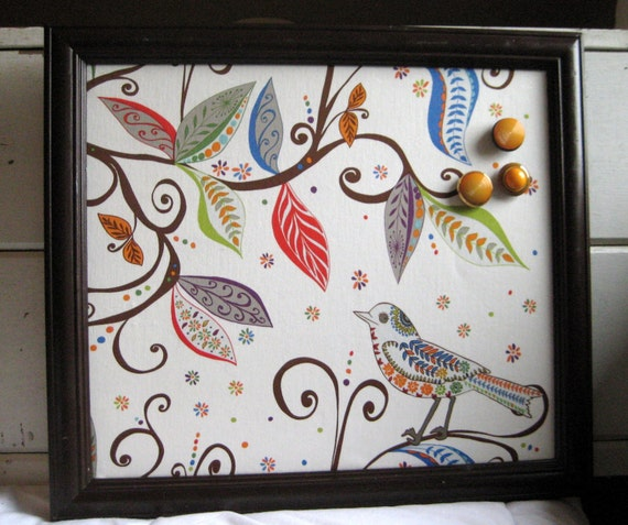framed magnet board french memo board modern bird leaves. Black Bedroom Furniture Sets. Home Design Ideas