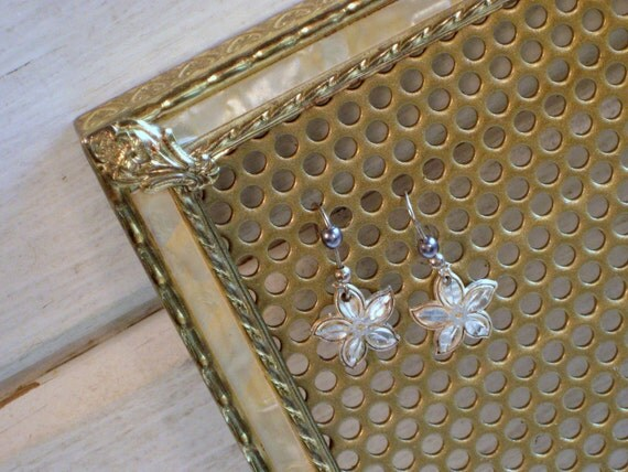 Earring Holder, Mother of Pearl Earring Display frame, magnetic brass frame, Jewelry organizer, 5 x 7 inches
