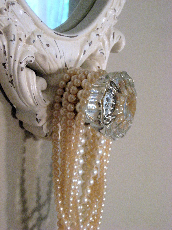 Jewelry Display Rack With Mirror Vintage Glass Door Knob