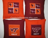 VT Virginia Tech Hokies Cornhole Bean Bag Toss Baggo Corn Set of 8