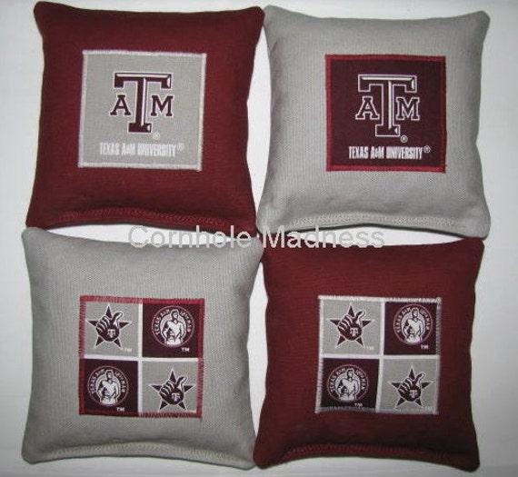 TEXAS A M Aggies Cornhole Corn Toss Bean Bag Baggo Bags Set of 8