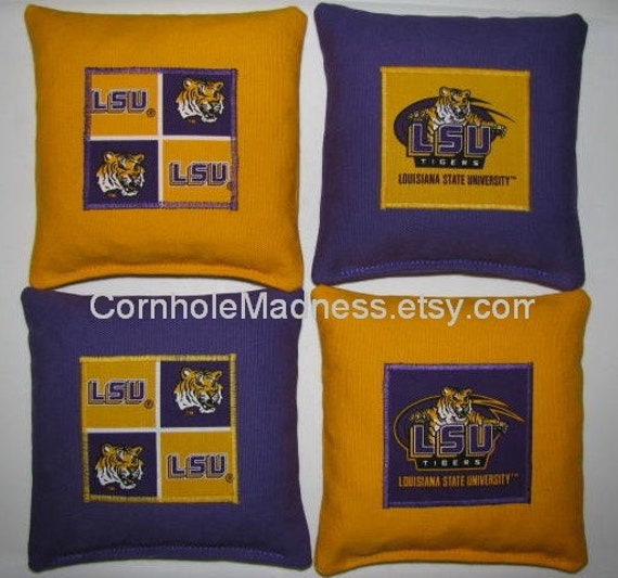LSU TIGERS Cornhole Bean Bag Toss Baggo Corn Set of 8