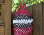Orchid, White, and Brown Crocheted Market Bag-- Large