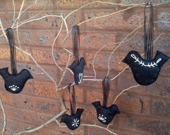 Ornaments-- Scandanavian-inspired black and white felt
