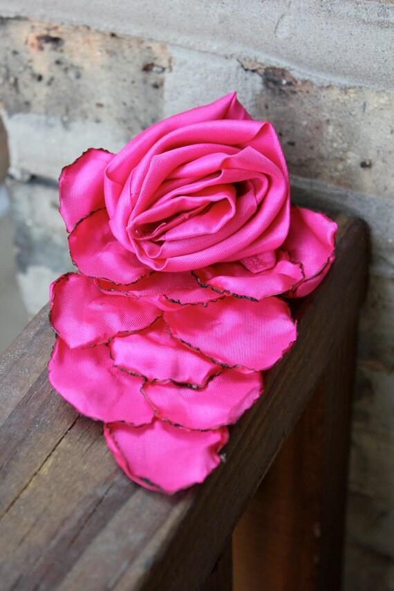 Recycled Taffeta Flower Brooch-- Magenta